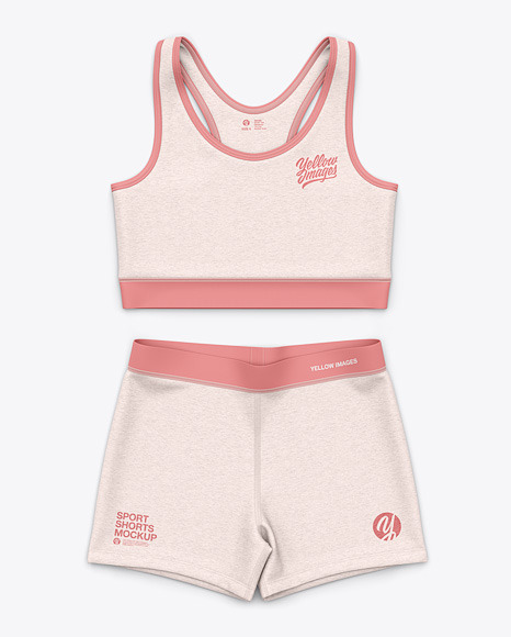Women's Heather Sport Tank Top and Shorts  - Front Top View