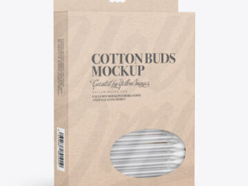 Kraft Box With Cotton Buds Mockup