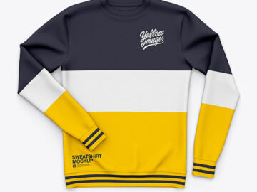 Men's Crew Neck Sweatshirt / Sweater Mockup - Front Top View