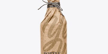 Bottle In Craft Paper Mockup
