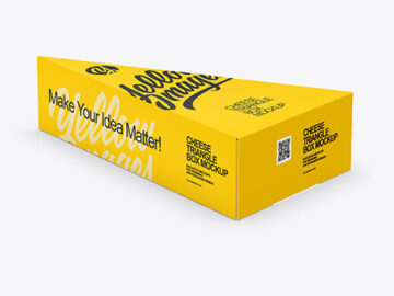 Glossy Plastic Triangle Cheese Box Mockup