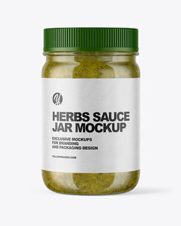 Clear Glass Jar with Spicy Herbs Sauce Mockup