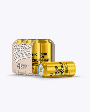 Carton Carrier W/ 4 Glossy Metallic Cans Mockup