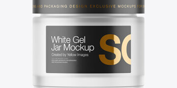 Frosted Glass Jar With White Gel Mockup