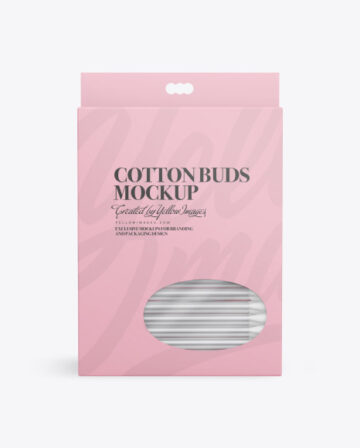 Paper Box With Cotton Buds Mockup