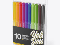 10x Glossy Markers Pack Mockup