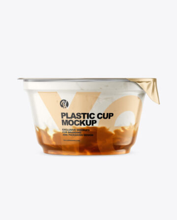 Plastic Cup w/ Yogurt and Apricot Jam