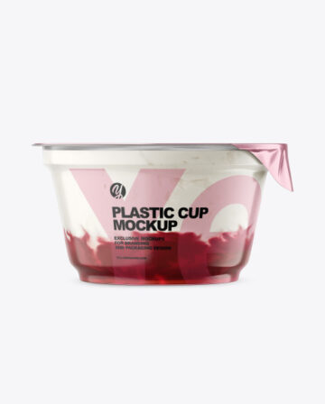 Plastic Cup w/ Yogurt and Cherry Jam