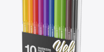 10x Matte Markers Pack Mockup