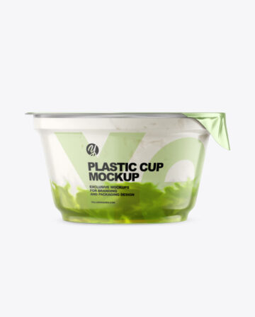 Plastic Cup w/ Yogurt and Kiwi Jam