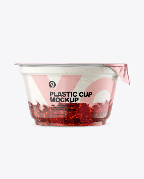Plastic Cup w/ Yogurt and Raspberry Jam