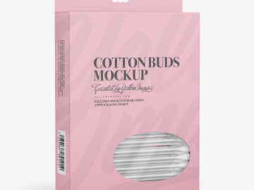 Box with Cotton Buds Mockup