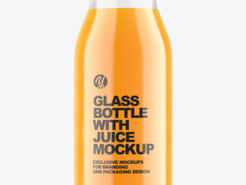 Glass Bottle with Multifruit Juice Mockup