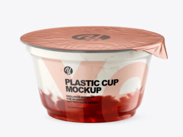 Plastic Cup w/ Yogurt and Strawberry Jam