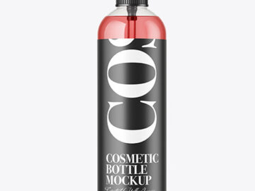 Color Liquid Cosmetic Bottle w/ Pump Mockup