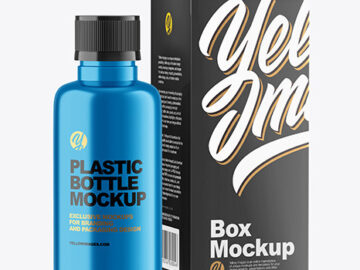 Metallic Bottle with Box Mockup
