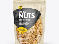 Clear Plastic Pouch w/ Cashew Nuts Mockup
