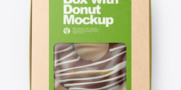 Kraft Box with Donut Mockup