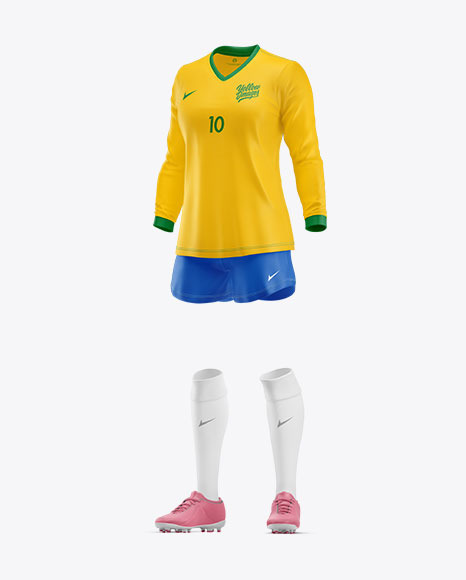 Women's Long Sleece Football Kit Mockup – Half Side View