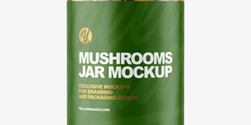 Clear Glass Jar with Marinated Mixed Mushrooms Mockup