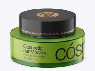 Green Glass Cosmetic Jar Mockup