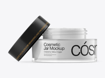 Opened Clear Glass Cosmetic Jar Mockup