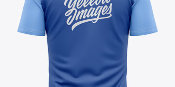 Men's Quarter Zip Sports Jersey Mockup - Back View