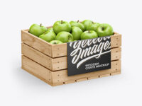 Crate with Green Apples Mockup