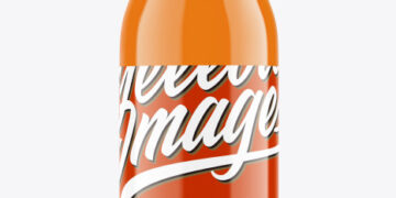 Glass Bottle with Carrot Juice Mockup