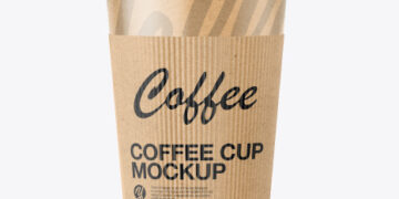 Kraft Paper Coffee Cup with Holder Mockup