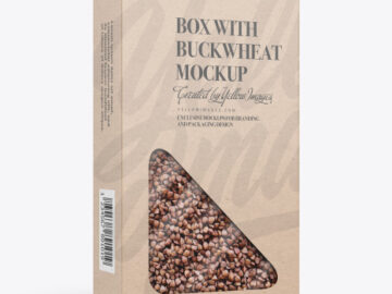 Kraft Paper Box with Buckwheat Mockup