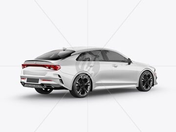 Sedan Mockup - Back Half Side View
