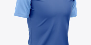 Men's Quarter Zip Sports Jersey Mockup - Front Half-Side View