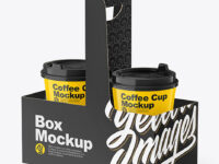 Glossy Coffee Cups in Paper Holder Mockup