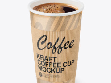 Kraft Paper Coffee Cup With Kraft Holder Mockup