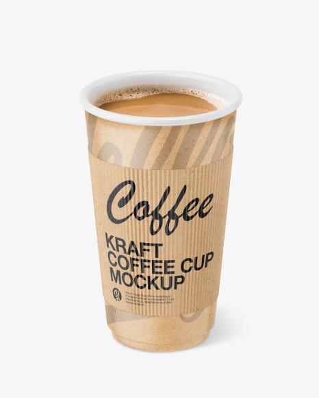 Kraft Paper Coffee Cup With Kraft Holder