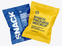 Two Matte Snack Package Mockup