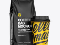 Matte Coffee Bag with Cup Mockup – Half Side View