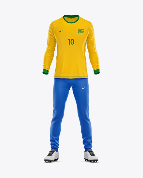 Football Kit with Long Sleeve Mockup – Front View