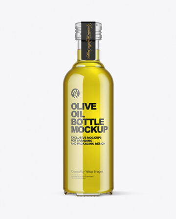 Clear Glass Olive Oil Bottle Mockup
