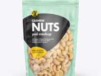 Frosted Plastic Pouch w/ Cashew Nuts Mockup
