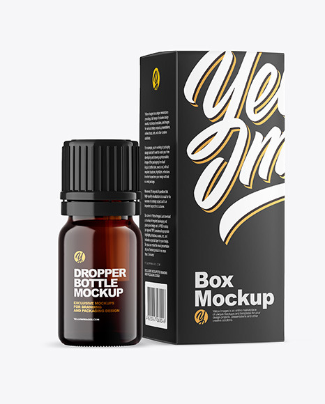Dark Amber Glass Bottle with Box Mockup