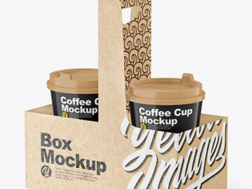 Glossy Coffee Cups in Kraft Paper Holder Mockup