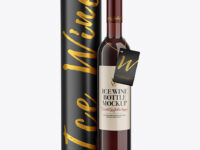 Clear Glass Red Wine Bottle With Tube Mockup
