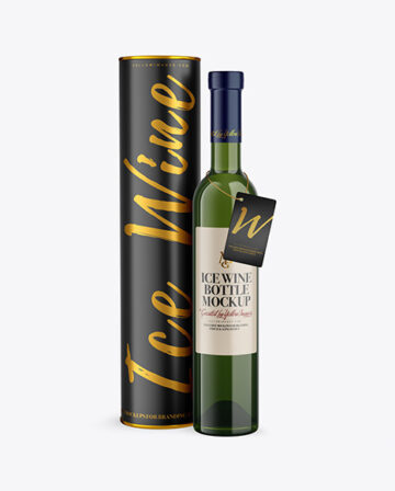 Green Glass White Wine Bottle With Tube Mockup