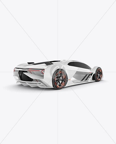 Super Car Mockup - Back Half Side View