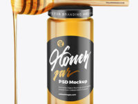 Clear Glass Honey Jar with Wooden Dipper Mockup