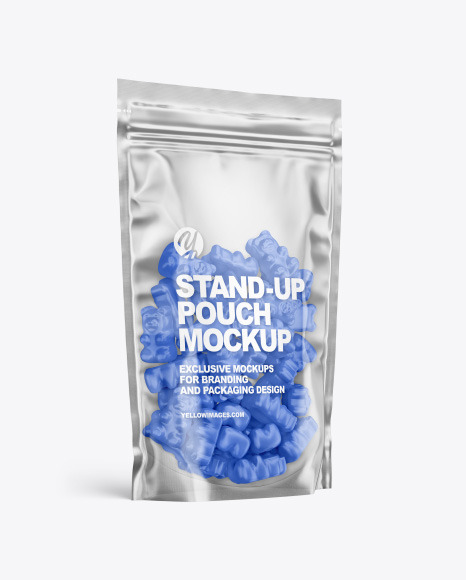 Stand-up Pouch with Gummies Mockup