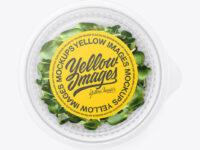 Transparent Plastic Container with Microgreen Mockup