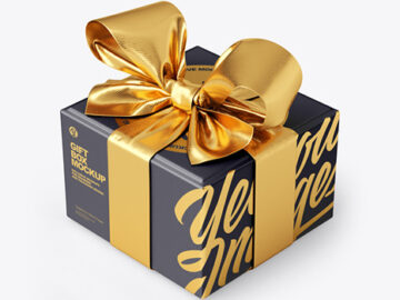 Gift Box With Tied Bow Mockup